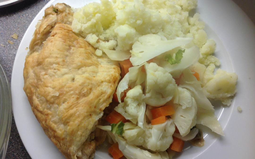 Bacon & Sweetcorn Pie, mash and peas, 32p a serving, Meal Plan 1