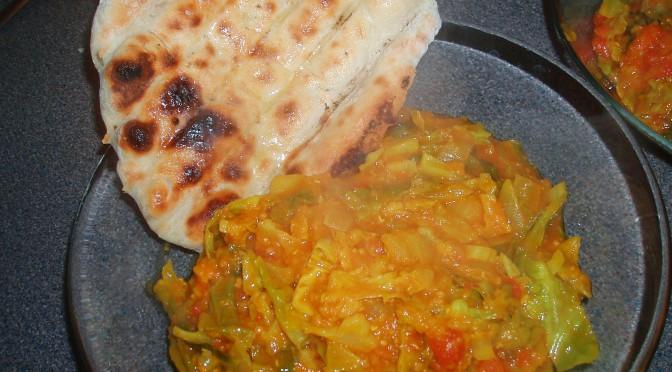 Spicy Cabbage, Lentils & Nan
