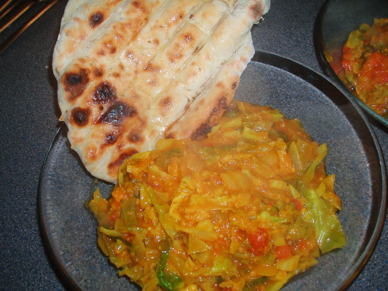 Spicy Cabbage, Lentils & Nan, 51p per serving