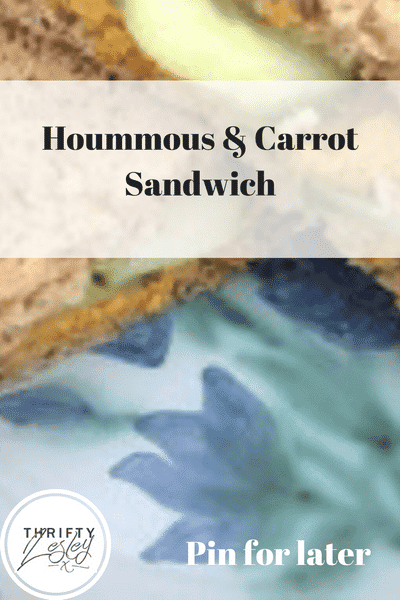 hoummous and carrot sandwich