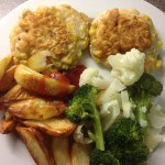 Sweetcorn fritters, wedges & peas, 30p a serving, Meal Plan 1
