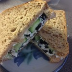Olive, Soft Cheese and Cucumber Sandwich, 30p
