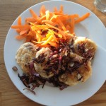 Olive Drop Scones, Crispy Fried Onions & Carrot Ribbon Salad, 24p a pop
