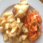 Roast Parsnip & Apple Salad, with Carrot, Raisin & Peanut Salad and Jacket Potato, total of 54p each