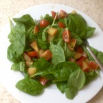 Spinach, tomato, plum and feta salad with crusty bread 71p