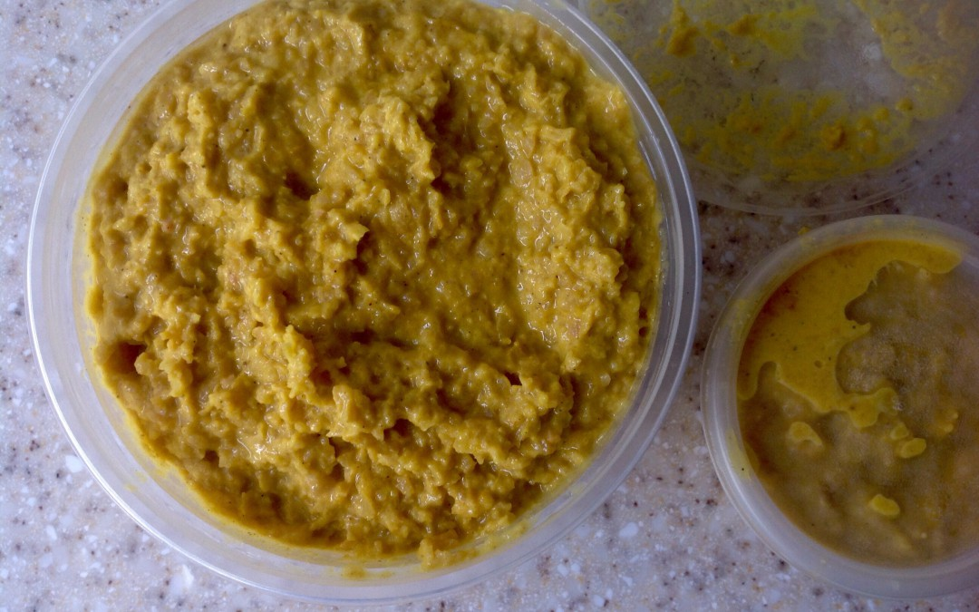 Spicy curried hummus, 60p for a massive pot