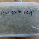 Fridge soup that's Paleo, I think, an avocado smoothie and a breadcrumb topped crumble