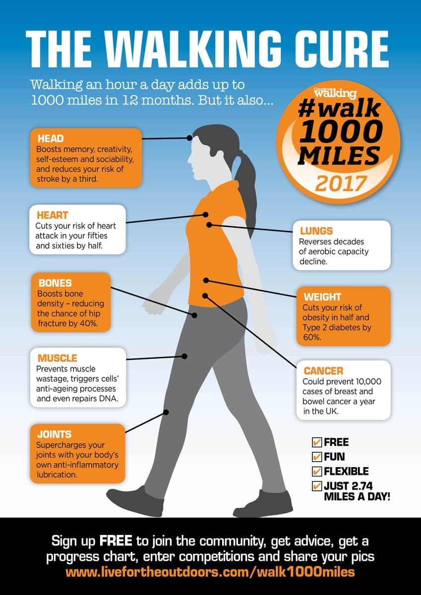 The poster from Country Walking magazine for the walk 1000 miles in 2017 challenge