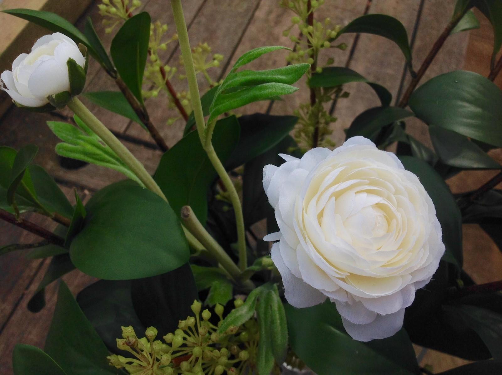 White silk flower