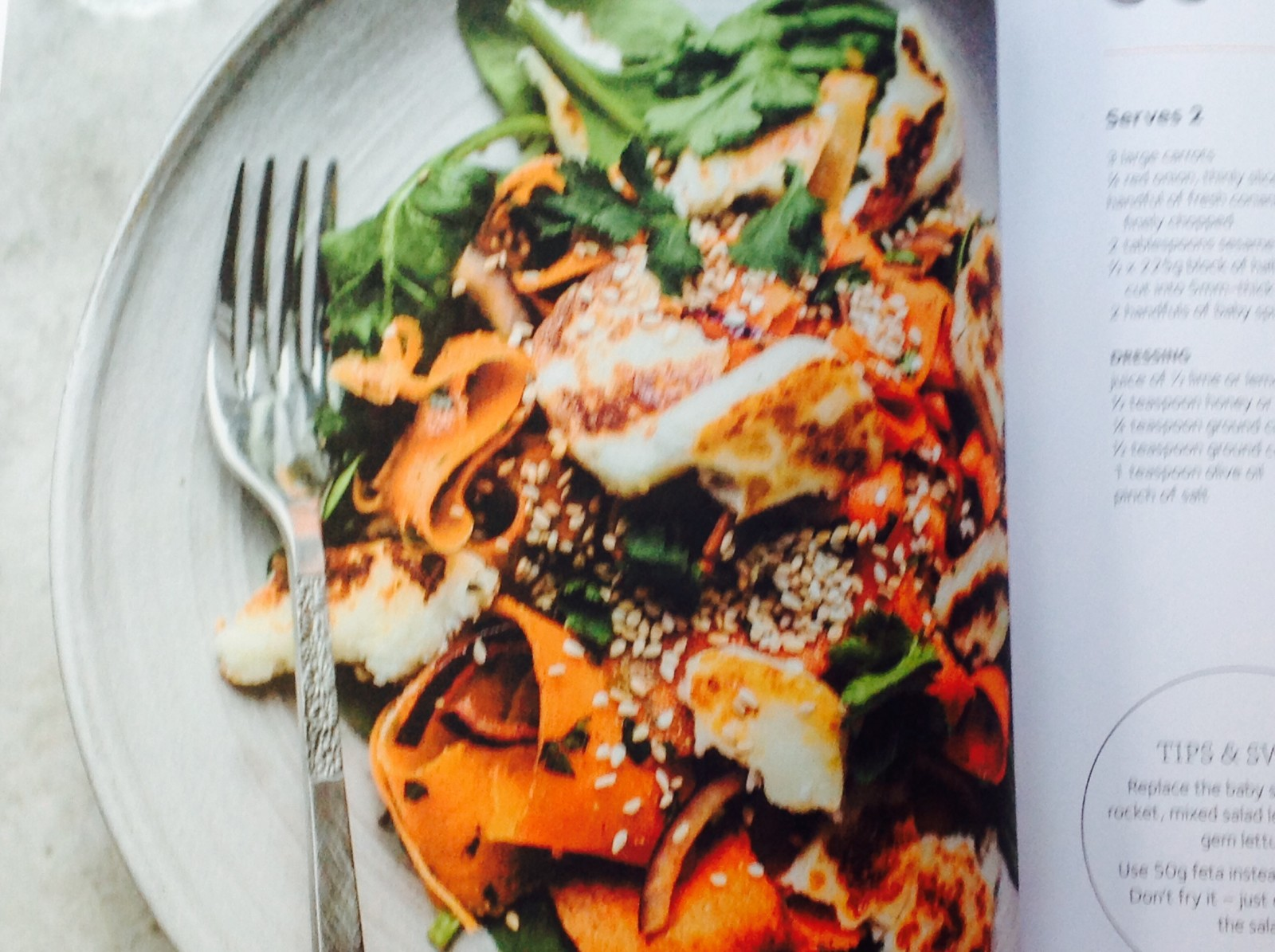 Carrot ribbon and halloumi salad