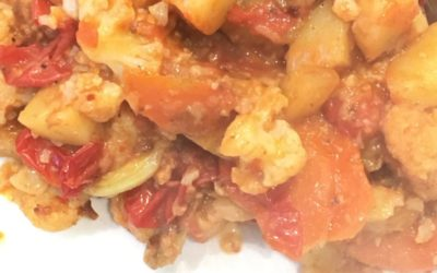 tomato stewed cauliflower a traditional Greek food