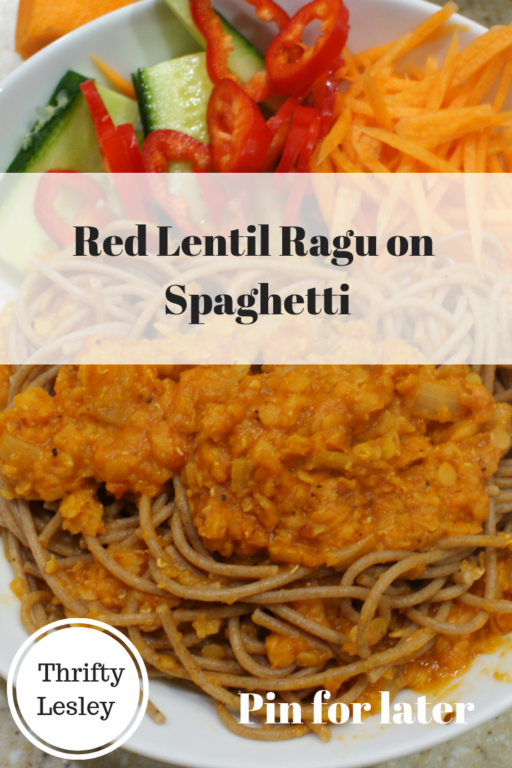 Red Lentil Ragu on Spaghetti