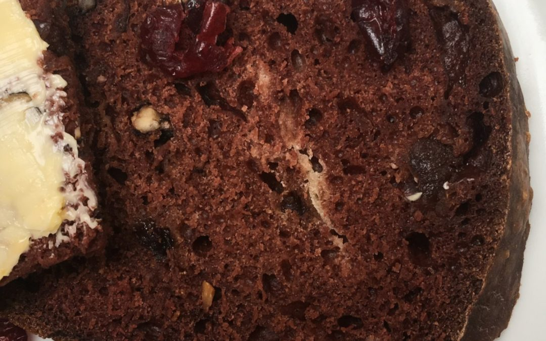 Sugar Free Chocolate, Cranberry and Walnut Tea Bread