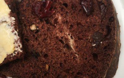 Sugar Free Chocolate, Cranberry and Walnut Tea Bread