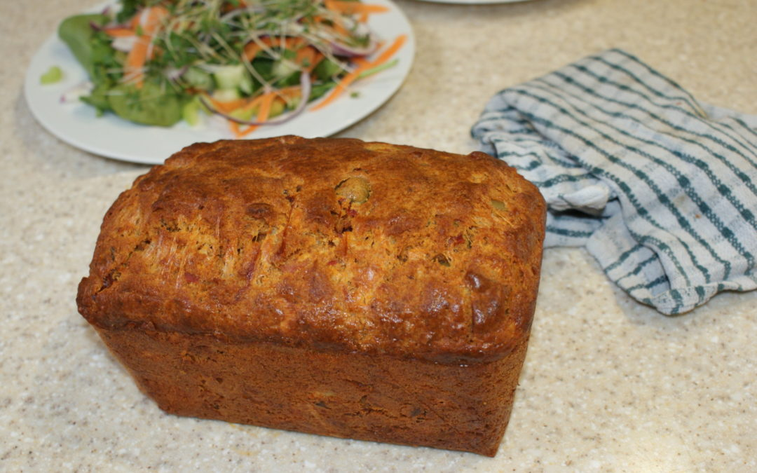 bacon, olive and cheese loaf for a cheap family meal