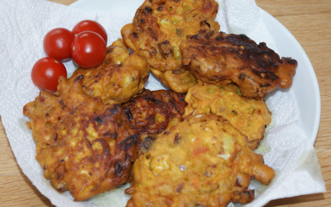 spicy vegetable fritters, a very cheap family meal