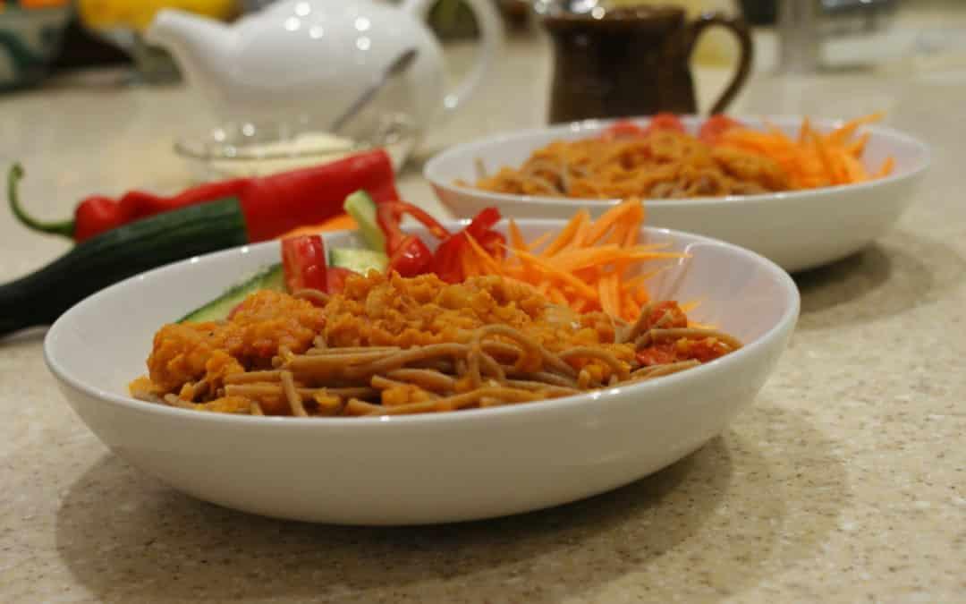 lentil ragu with spaghetti