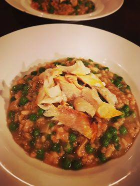 leek and pea risotto with basa