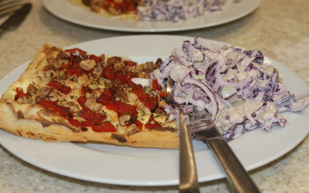 Red Pepper & Walnut Tart with Winter Coleslaw