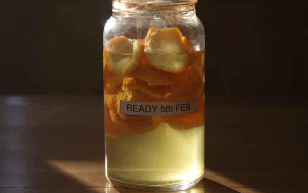 orange peel in white vinegar